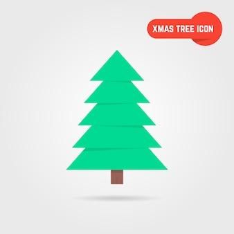 Ícone da árvore de natal verde com sombra. conceito de abeto, evento familiar, árvore x mas, natividade, yule. árvore de natal isolada em fundo cinza. estilo plano tendência design de logotipo moderno ilustração em vetor árvore de natal