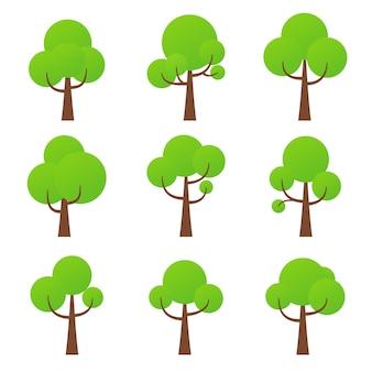 Ícone da árvore, símbolo da natureza plantas florestais verdes coleção