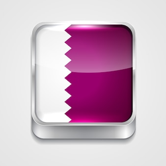 Ícone da bandeira do estilo 3d do vetor de qatar