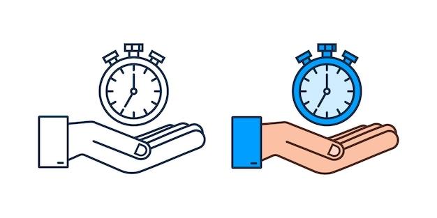 Ícone da bússola sobre as mãos no fundo branco símbolo de navegação vetorial plana