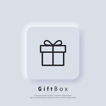 Ícone da caixa de presente. presente aniversário feriado de natal. conceito de festa e celebração. vetor. botão da web da interface de usuário branco neumorphic ui ux. neumorfismo