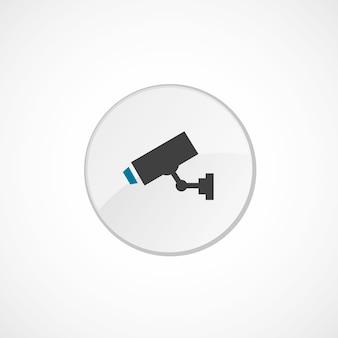 Ícone da câmera de segurança 2 colorido, cinza e azul, emblema do círculo