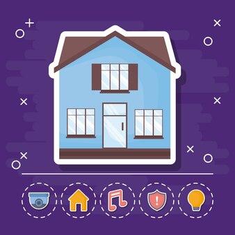 Ícone da casa moderna com ícones relacionados casa inteligente