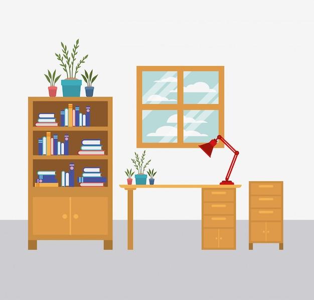 Ícone da cena do espaço de trabalho do escritório
