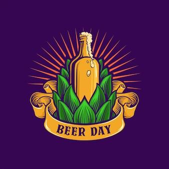Ícone da cervejaria dia da cerveja bootle ilustrações