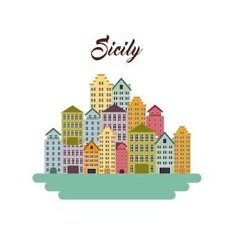 Ícone da cidade de sicília. design de cultura da itália. gráfico de vetor