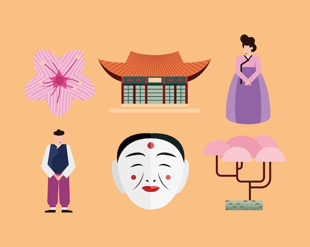 Ícone da coreia do sul em fundo laranja