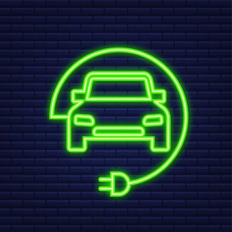 Ícone da estação de carregamento de veículos elétricos. ev charge. carro elétrico. ícone de néon. ilustração vetorial.