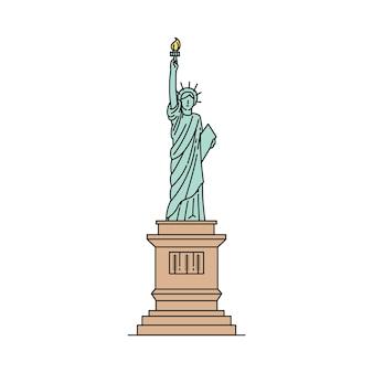 Ícone da estátua da liberdade - famoso marco dos eua isolado na superfície branca
