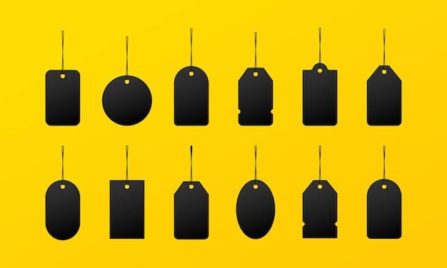 Ícone da etiqueta do tamanho da roupa em preto ou pequeno, grande e extra grande