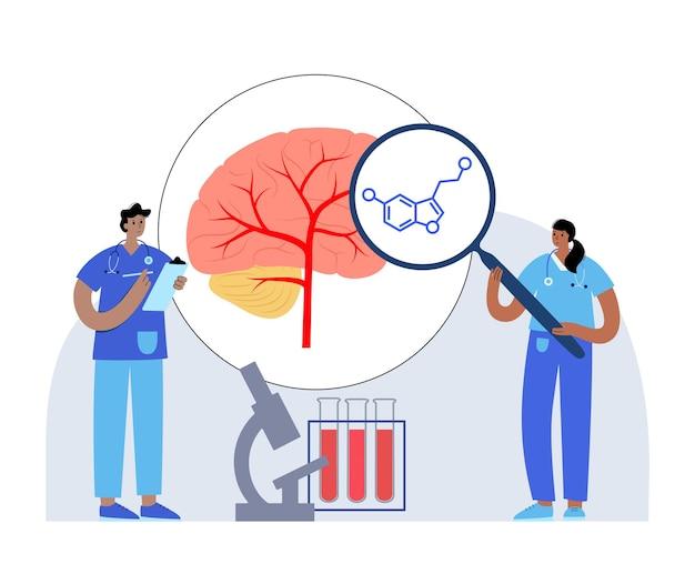 Ícone da fórmula da serotonina. neurotransmissor da monoamina. ilustração em vetor plana modulando humor