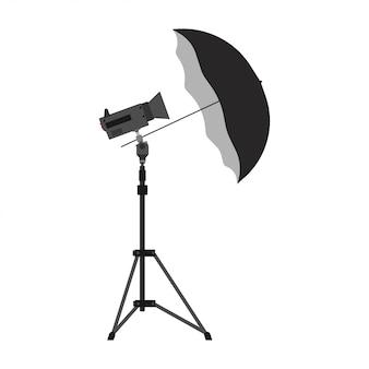 Ícone da ilustração do equipamento do vetor do guarda-chuva da câmera da fotografia. tripé de estúdio de luz de foto com flash digital