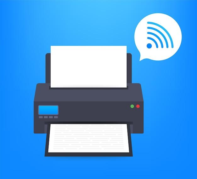 Ícone da impressora com símbolo de wi-fi sem fio
