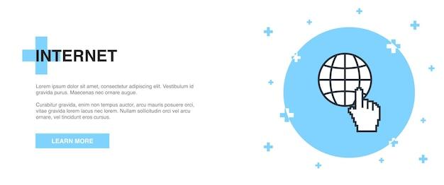 Ícone da internet, conceito de modelo de contorno de banner. design de ilustração de linha de internet