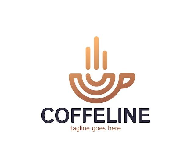 Ícone da linha de café expresso, design de logotipo de contorno