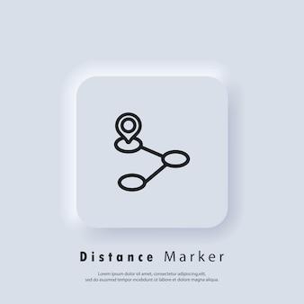 Ícone da linha de navegação de viagens. distância da trilha. ícone de destino. localização da rota. localização no mapa.