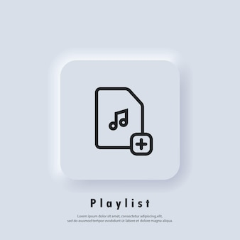 Ícone da lista de reprodução favorita. canções. reprodutor de música. logotipo da lista de reprodução. vetor. ícone da interface do usuário. botão da web da interface de usuário branco neumorphic ui ux.