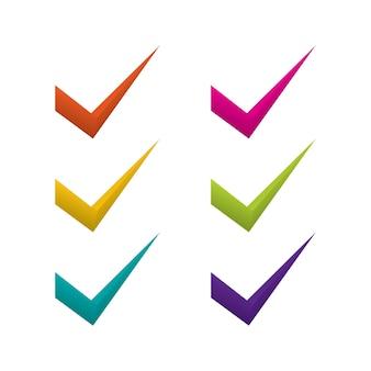 Ícone da lista de verificação definido em cores