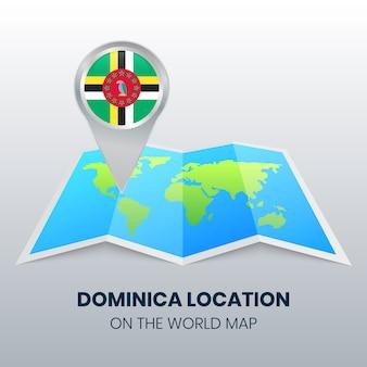 Ícone da localização da dominica no mapa do mundo