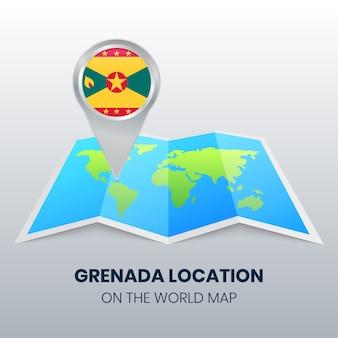 Ícone da localização de granada no mapa do mundo