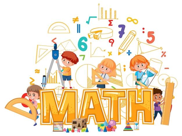 Ícone da matemática com crianças e ferramentas matemáticas
