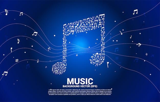 Ícone da música em forma de nota chave dançando fundo