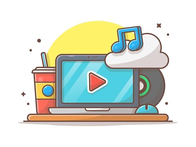 Ícone da música em nuvem com laptop, refrigerante e nota de música. espaço de trabalho nuvem de som branco isolado