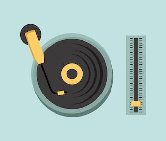 ícone da música sobre ilustração vetorial de fundo azul