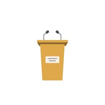 Ícone da tribuna isolado no fundo branco ou no pódio plano dos desenhos animados