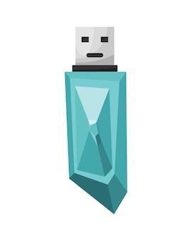 Ícone da unidade flash usb. símbolo dos desenhos animados de cristal. memory stick colorido isolado no fundo branco, em estilo simples.