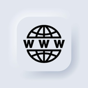 Ícone da web. vetor. ícone www. vá para o símbolo da web. site ou ícones de vetor plana de internet para aplicativos e sites. botão da web da interface de usuário branco neumorphic ui ux. neumorfismo.