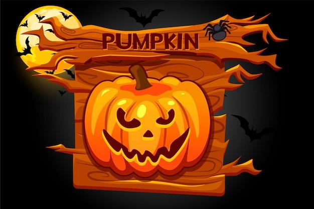 Ícone de abóbora de halloween, banner de madeira para o jogo. ilustração em vetor de uma noite assustadora com a lua e os morcegos, pôster de madeira.