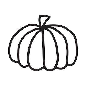Ícone de abóbora preto e branco. desenho de abóbora do doodle. ilustração em vetor de contorno vegetal. imagem monocromática simples. ilustração desenhada à mão a tinta