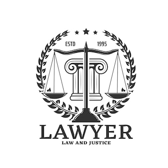 Ícone de advogado, escalas de justiça e legislação