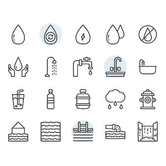 Ícone de água e símbolo definido no contorno