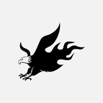 Ícone de águia em chamas ilustração vetorial vida selvagem animal silhueta ideias de elementos gráficos