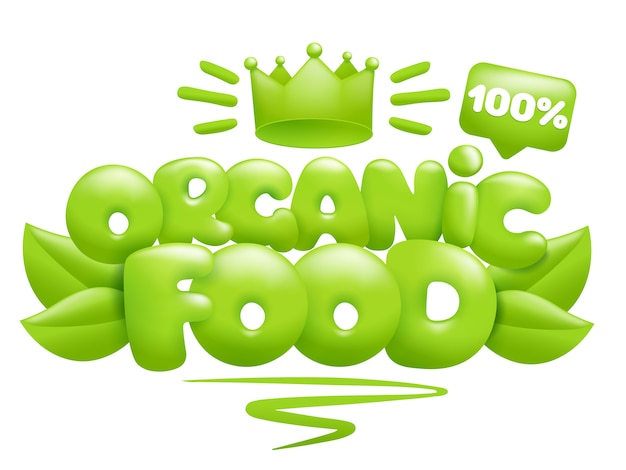 Ícone de alimentos orgânicos com folhas verdes e coroa. estilo dos desenhos animados 3d