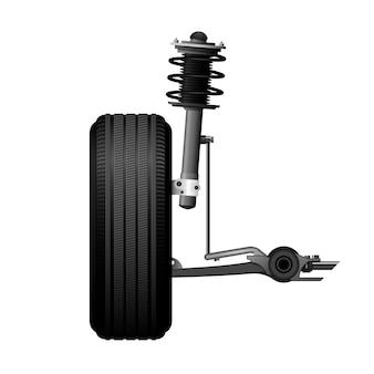 Ícone de alinhamento de roda - serviço de suspensão do carro, amortecedor, eixo e roda