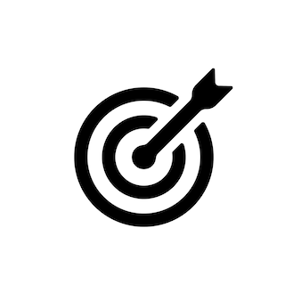 Ícone de alvo em preto. seta. missão. vencedora. conceito de negócios. vetor eps 10. isolado no fundo branco.