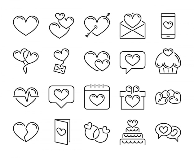 Ícone de amor romântico, corações, conjunto de ícones de linha de dia dos namorados. curso editável, pixel perfeito.