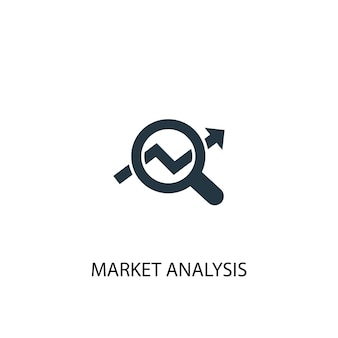 Ícone de análise de mercado. ilustração de elemento simples. design de símbolo de conceito de análise de mercado. pode ser usado para web e celular.
