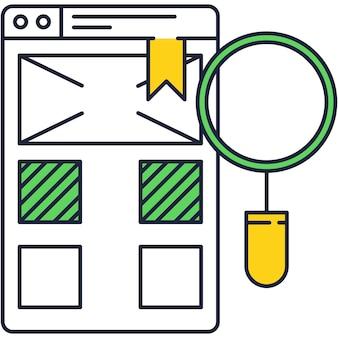 Ícone de análise de web de vetor plano de pesquisa de dados de seo