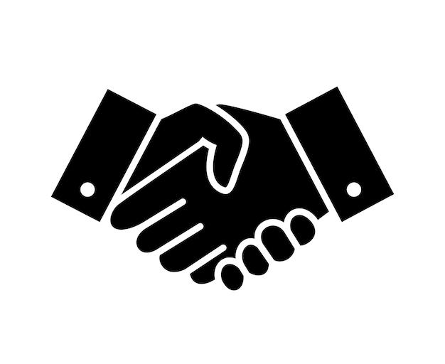 Ícone de aperto de mão de boas-vindas e respeito profissional. pictograma de lealdade ou parceria, amizade ou símbolo de negócio. ilustração vetorial