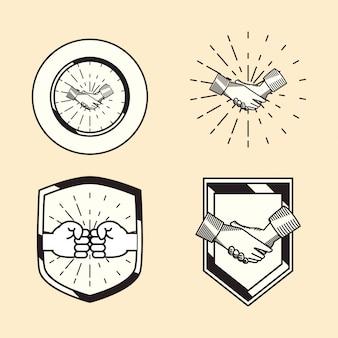 Ícone de aperto de mão em estilo vintage