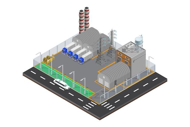 Ícone de armazém de fábrica isométrica moderna