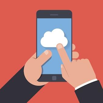Ícone de armazenamento em nuvem na tela do telefone móvel. a pessoa clica na tela do smartphone. ilustração plana isolada em fundo vermelho.