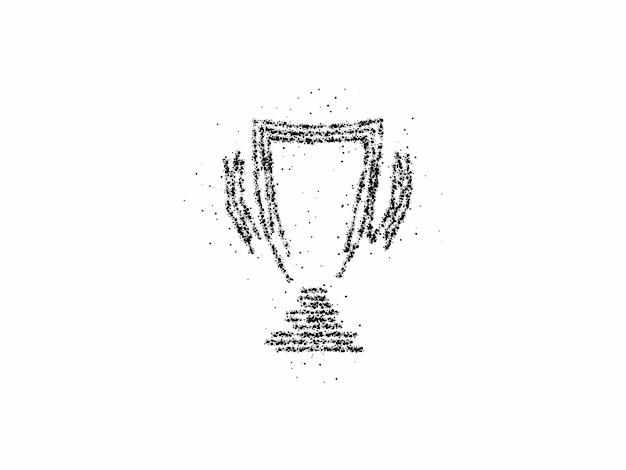 Ícone de arte de partículas da copa do troféu, vetor em fundo branco