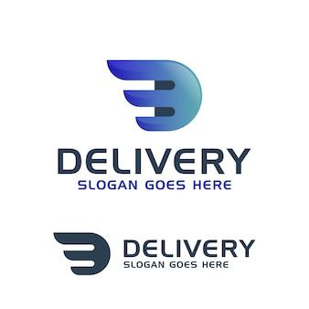 Ícone de asas combinadas de entrega rápida letra d para modelo de logotipo logístico