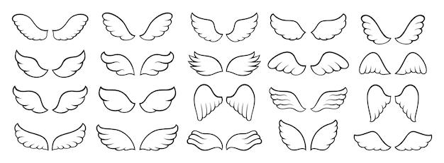 Ícone de asas conjunto simples preto sinal logotipo anjo pássaro pena duas asas