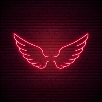 Ícone de asas de néon vermelho